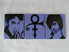PRINCE Hand Painted Canvas Wall Art / Wall Hangings - Set of 3 Purple & Black