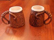 2 Vintage 1958 Treasure Craft Western Lasso Rope / Woodgrain Ceramic Mugs