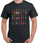 Guitar Collection Mens Music T-Shirt Electric Acoustic Bass Band Player Hero