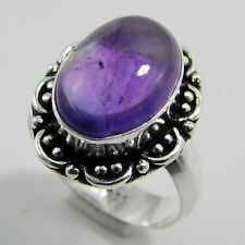 African Amethyst Stone Jewelry 925 Sterling Silver Plated Handmade Ring Size-O