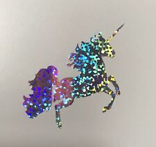 Unicorn Olografico/Argento Glitter Vinile Adesivi/Decalcomanie x2 iPhone parete Party