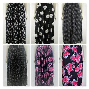 Women`s Long skirt back elasticated waist floral prints. Plus sizes (14-24)