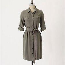 Odille Anthropologie Green Silk Long Sleeve Utility Shirt Dress Size S
