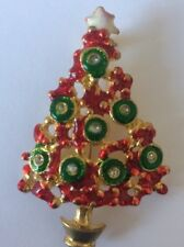Red And Green Enamel With Clear Crystals On Gold Tone Christmas Tree Brooch