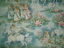 Vintage UNICORN & CHILDREN Flannel Fabric (113cm x 60cm)