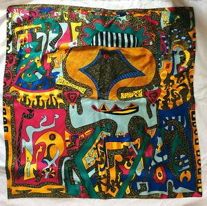 "PINEDA COVALIN Mexico - Mexican Folk Art Silk Scarf  34.5"" by 34.5"""