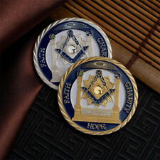 2PCS Freemason Masonic Lodge Masonic Symbols Token Gold/Silver Coin