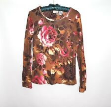NWT WHITE&STAG 100% Cotton Long Sleeve Brown Roses Womens Blouse Size S