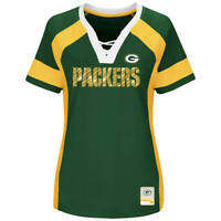 NEW MAJESTIC NFL Team Apparel GREEN BAY PACKERS  V-Neck Jersey Shirt Womens NWT