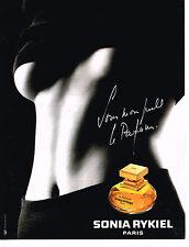 PUBLICITE ADVERTISING 104  1994  SONIA RYKIEL  parfum femme SOUS MON PULL