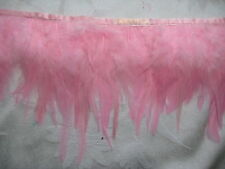 2 YARDS Hackle Feather Fringe LIGHT PINK Feathers  Trim crafts earrings jewelry