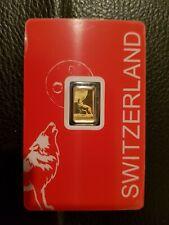 Goldbarren? Schweiz ?1 gr. ? Motivbarren Wolf ? Gramm ? 999,9 Gold?Pamp?Feingold