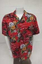 Vintage Hawaii Brand Short Sleeved Flower & Motorcycle Patterned Aloha Shirt XL