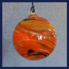 "Hanging Glass Ball 4""  Orange, Yellow, Dark Blue & White Swirls (1) HB53-2"