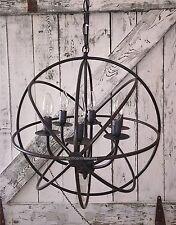 Industrial Round Chandelier Light Fixture Globe Metal Rustic Armillary Sphere
