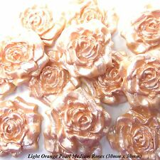 12 Light Orange Pearl Sugar Roses edible wedding cake cupcake decorations