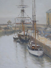 ORIGINAL MICHAEL RICHARDSON Square rigged ship Charlestown Harbour OIL PAINTING