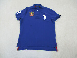 Ralph Lauren Polo Shirt Adult Large Blue White Pony Crest Cotton Rugby Mens A58*