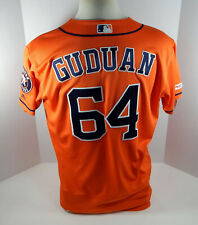 2019 Houston Astros Reymin Guduan #64 Game Issued Orange Jersey 150 Patch