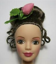 New Barbie Nude Doll Up-Do Brunette Pin curls Hair Rose acc Tnt Waist Brown Eyes