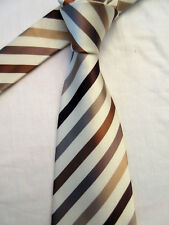 CEDARWOOD STATE PADDED BROWN STRIPED 3.75 INCH POLYESTER NECK TIE