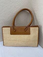 Furla Natural Straw Tan Brown Leather Trim Tote Shoulder Handbag