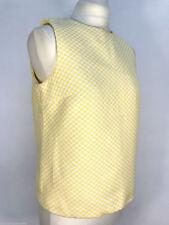 Zara Basic Yellow White Check Gingham Jacquard Top - XS, sleeveless, keyhole