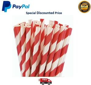 """Paper Straws Red And White Striped 8"""" (20cm) Biodegradable Compostable 6mm Bore"""