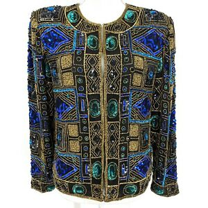 Medium Scala Beaded Sequins Evening Party Cocktail Jacket Blazer Multicolor C032