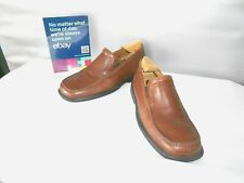 Men's Ecco Brown Leather Casual Dress Comfort Shoes Loafers Size 8 D
