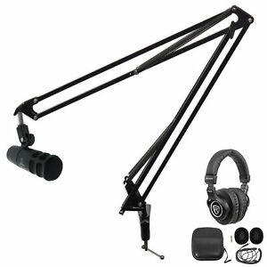 Audio Technica AT2040 Broadcast Podcast Podcasting Microphone+Boom+Headphones