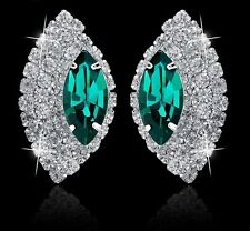GORGEOUS 18K WHITE GOLD PLATED EMERALD GREEN AND CLEAR CUBIC ZIRCONIA EARRINGS