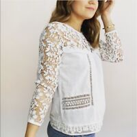 Anthropologie Gauze Lace Sleeve Top Women's Size XS