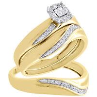 10K Yellow Gold Diamond Trio Set Halo Engagement Ring + Wedding Band 1/5 Ct.