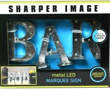 One Sharper Image BAR 4 Hr Timer Auto On Off Metal Warm White LED Marquee Sign