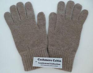 Light brown lambswool gloves mens ladies womens wool woollen winter Scotland