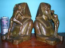 Rare Egyptian sphinx radio wireless telegraphy bookends Roman Bronze Works, 1914