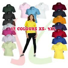 Women's Classic Poloshirt Ladies Plain Short Sleeve Top T-Shirt Polo T shirt Lot