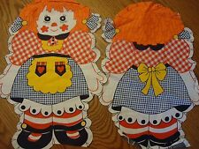 Three Pair Juvenile Cut-Out Panels 2 Raggedy Annes and 1 Clown One Extra Panel S