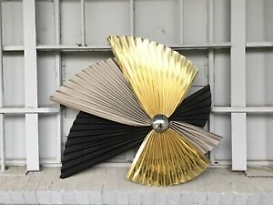 "Midcentury C Jere Abstract Pleated Metal Wall Sculpture Art 36"" Artisan House"