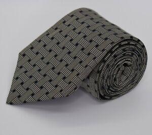 * Sulka * Black & Grey Geometric Silk Made in France Neck Tie
