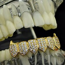 18k Gold Plated Fangs Bottom Grillz CZ Cubic Zirconia Ice Micro Pave Bling Teeth