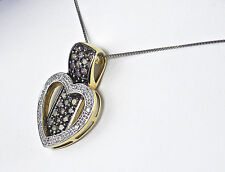 .68 Carat Total Weight Genuine Brown and White Diamond Pendant – 10KT Gold