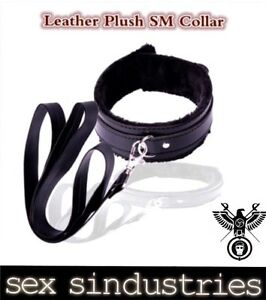sexy black leather slave collar and leash Bondage collar fetish role play ...