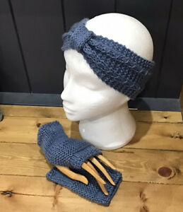 Fingerless Gloves Mitts and Headband Set Hand Knitted In Blue