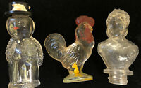 Lot Of Small Glass Painted Figurines-Candy Containers-Rooster