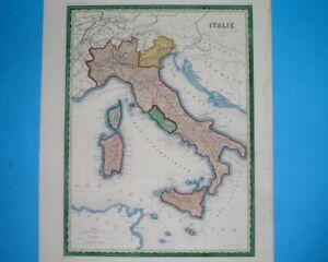 1868 ORIGINAL MAP ITALY SICILY CALABRIA NAPLES LOMBARDY FRIULI VENETO ROME TURIN