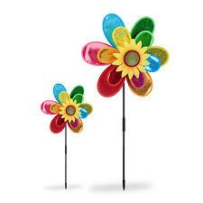 2 x Windrad Blume Gartenstecker Windmühle Gartendeko Taubenschreck Windspiel 3D