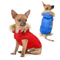 Waterproof Hooded Dog Clothes Winter Warm Puppy Dog Jacket Coat Apparel Fur Hat