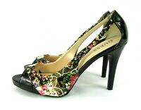 GUESS Womens Size 9 M Black Patent Leather Floral Satin Peeptoe Pumps Heels